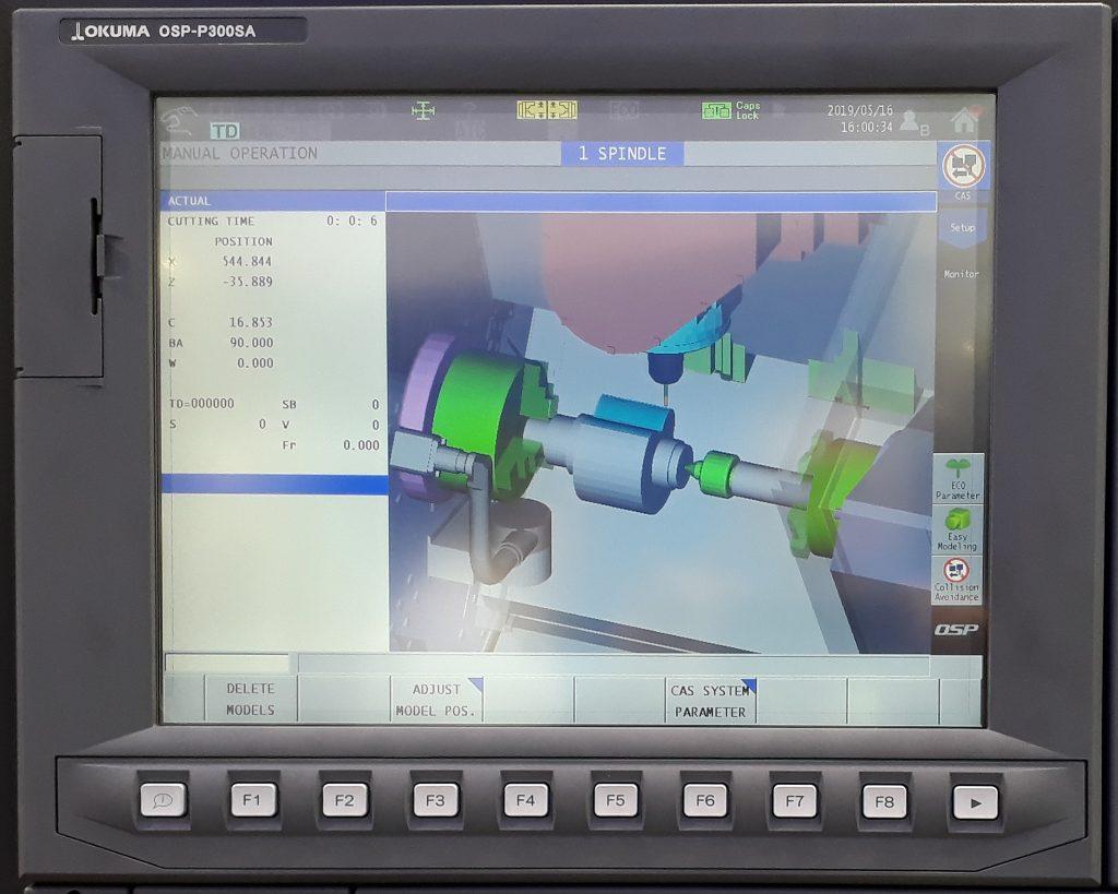 Simulare CAM prelucrare strung Okuma Multus B250II - Sistem anti-coliziune mașini CNC