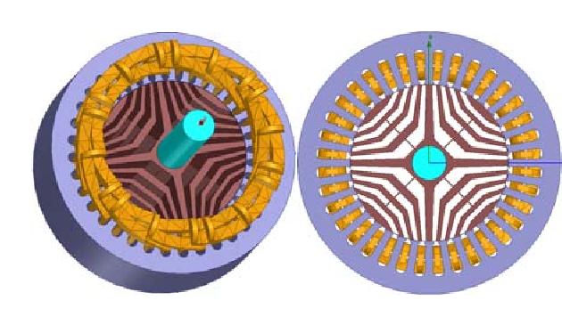 Motorul cu reluctanță - simulare 3D rotor, stator si bobine